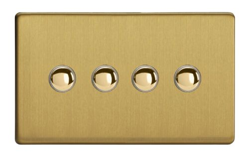 Varilight XDBP4S Screwless Brushed Brass 4 Gang 6A 1 or 2 Way Push-On/Off Impulse Switch